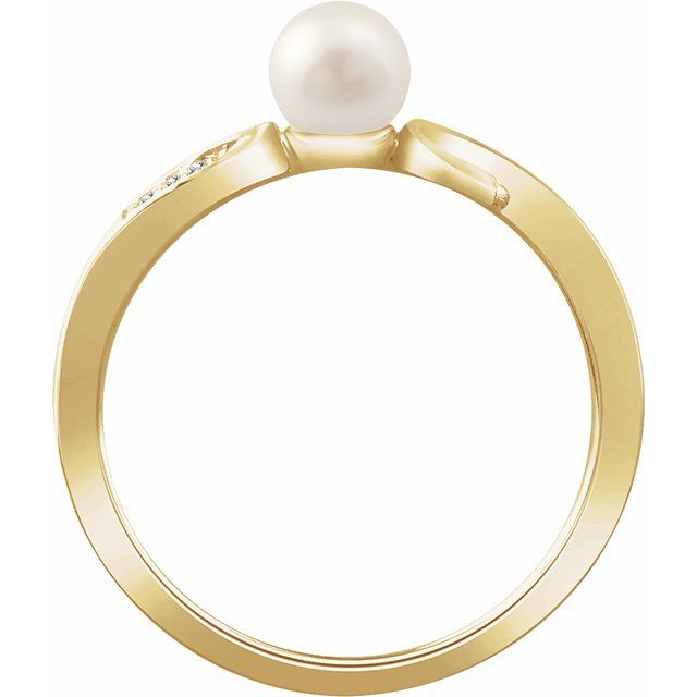 14K Yellow Cultured White Freshwater Pearl & .02 CTW Natural Diamond Ring