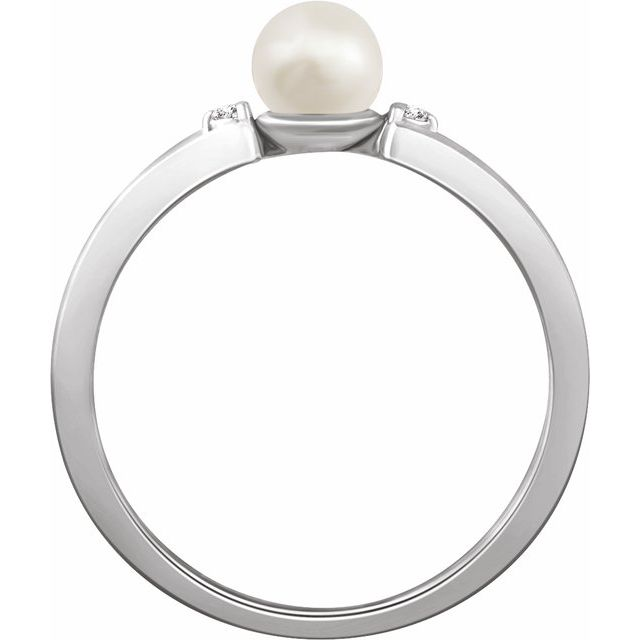 14K White Freshwater Cultured Pearl & .03 CTW Diamond Ring