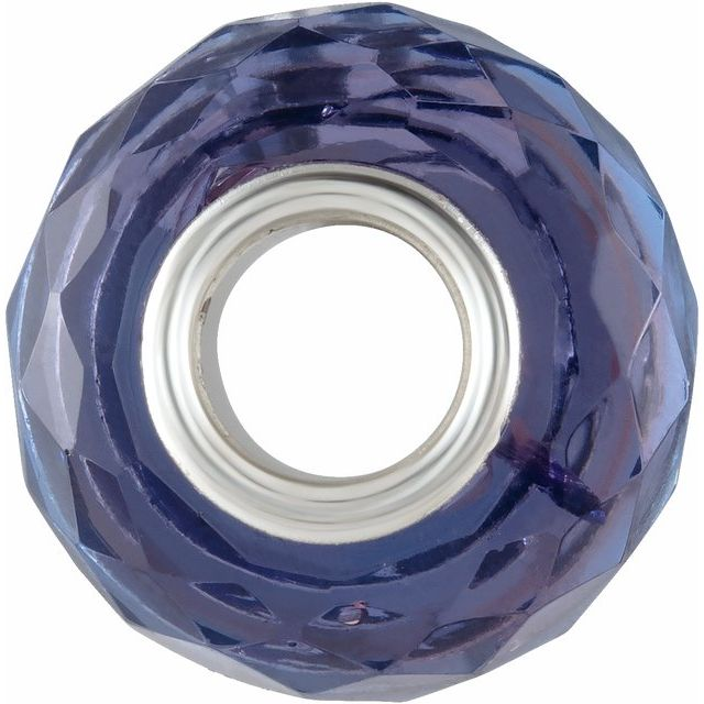Sterling Silver 15x10 mm  Blue & Purple Faceted Glass Bead