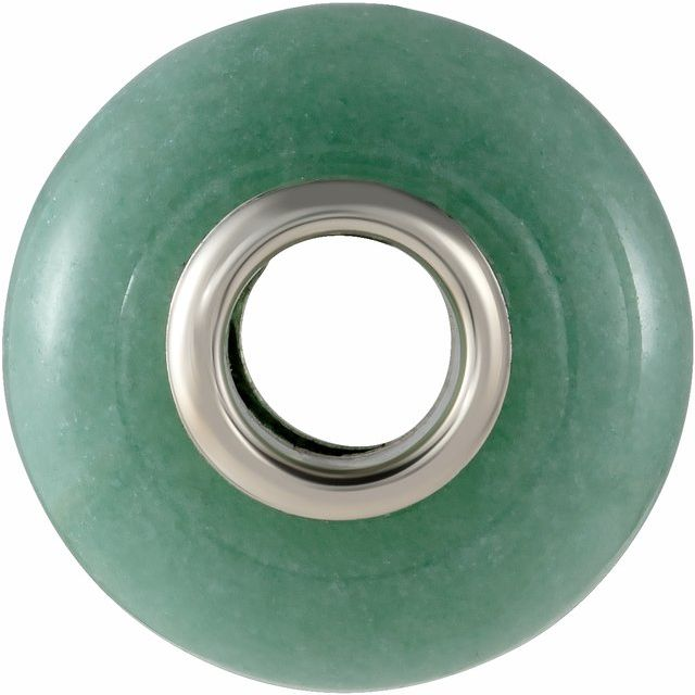 Sterling Silver 14x8 mm Green Aventurine Natural Stone Bead