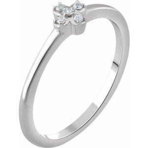 14K White .04 CTW Diamond Stackable Flower Ring