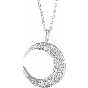 "14K White 1/3 CTW Diamond Crescent Moon 16-18"" Necklace"