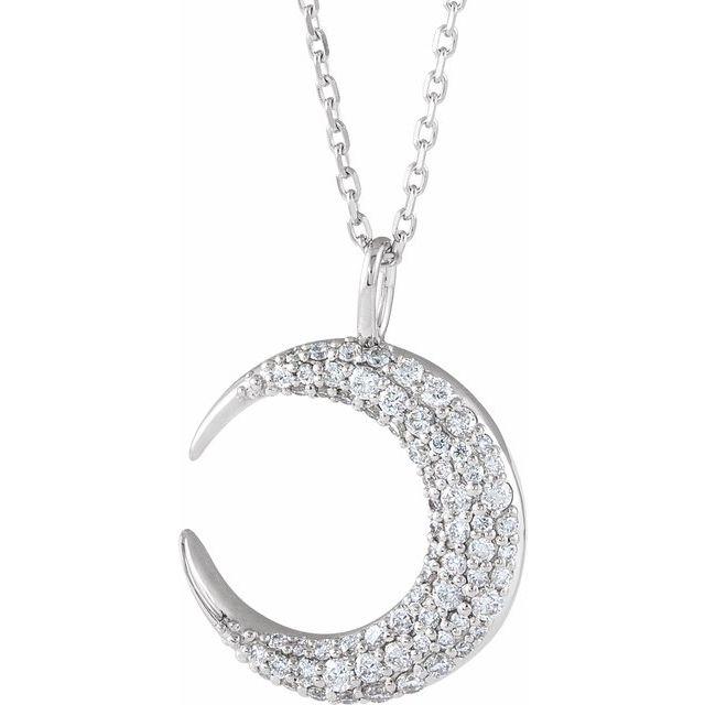 14K White 1/3 CTW Diamond Crescent Moon 16-18
