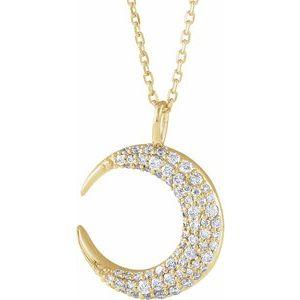 "14K Yellow 1/3 CTW Diamond Crescent Moon 16-18"" Necklace"
