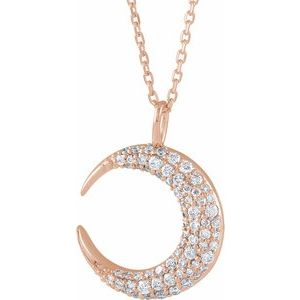 "14K Rose 1/3 CTW Diamond Crescent Moon 16-18"" Necklace"