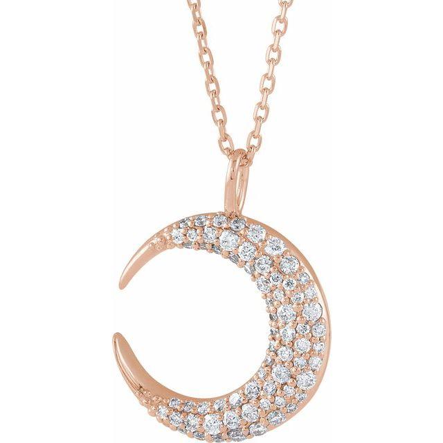 14K Rose 1/3 CTW Diamond Crescent Moon 16-18