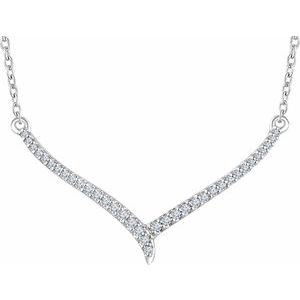 "14K White 1/6 CTW Diamond ""V"" 16-18"" Necklace"