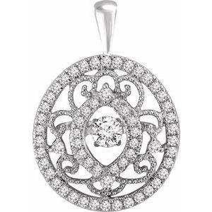 14K White 3/8 CTW Mystara® Diamonds Vintage-Inspired Pendant