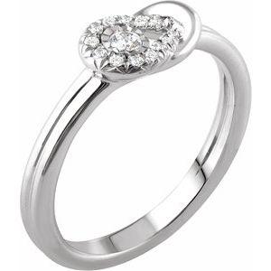 14K White 1/8 CTW Diamond Knot Ring