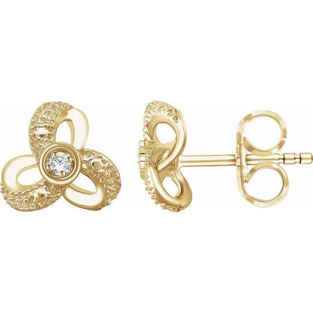 14K Yellow 1/6 CTW Diamond Knot Earrings
