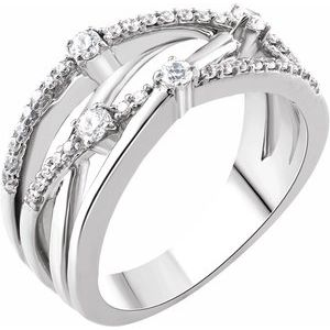 14K White 1/3 CTW Diamond Criss-Cross Ring