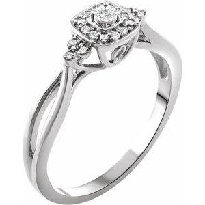10K White .05 CTW Diamond Promise Ring