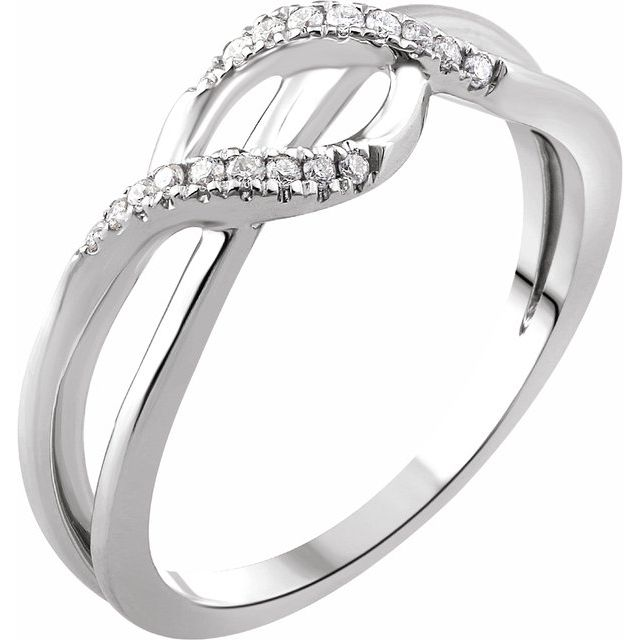 14K White 1/10 CTW Diamond Criss-Cross Ring