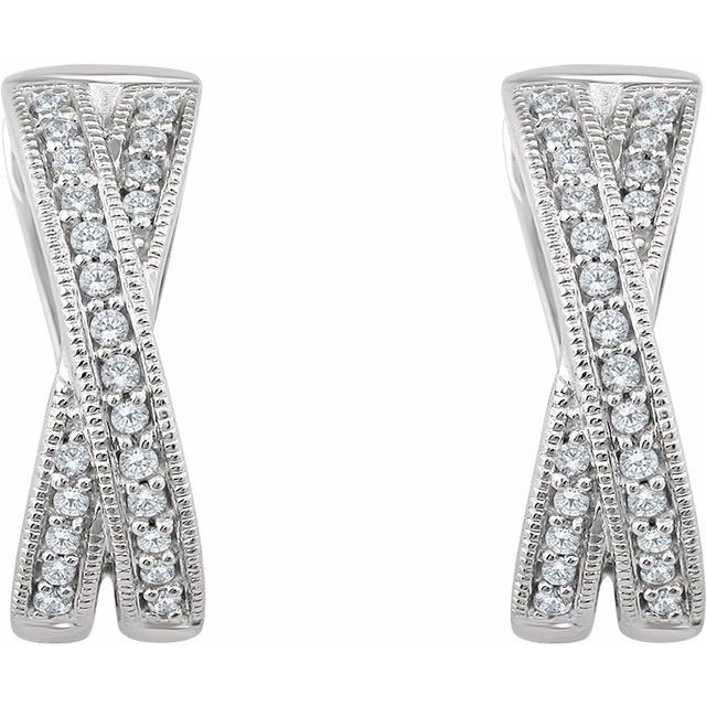 14K White 1/5 CTW Diamond Criss-Cross Hoop Earrings