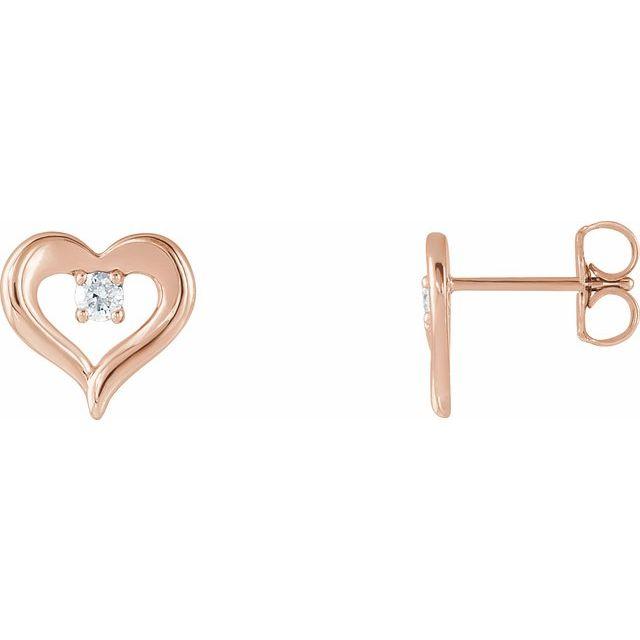 14K Rose 1/10 CTW Diamond Heart Stud Earrings