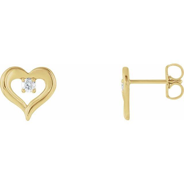 14K Yellow 1/10 CTW Diamond Heart Stud Earrings