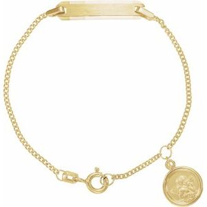 "14K Yellow Youth Identification 4.5"" Bracelet with Angel Charm"