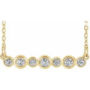 """14K Yellow 1/5 CTW Diamond Bezel-Set Bar 16-18"""" Necklace"""