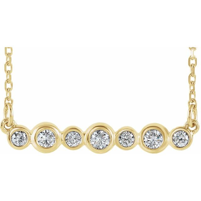 14K Yellow 1/5 CTW Natural Diamond Bezel-Set Bar 16-18