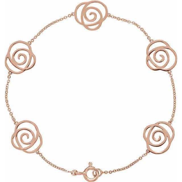 14K Rose Floral-Inspired Bracelet