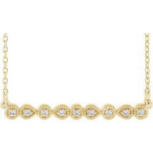 "14K Yellow .07 CTW Diamond Milgrain Bar 16-18"" Necklace"