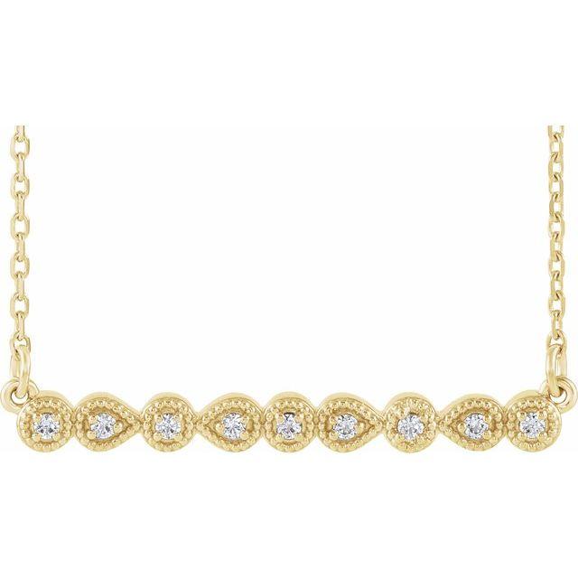 14K Yellow .07 CTW Diamond Milgrain Bar 16-18