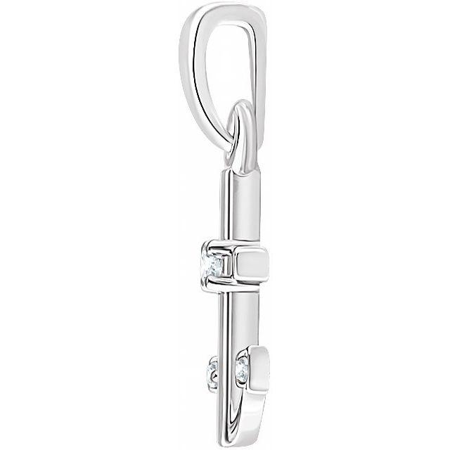 14K White .03 CTW Diamond Anchor Pendant