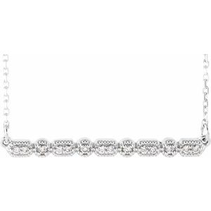 "14K White 1/10 CTW Diamond Milgrain Bar 16-18"" Necklace"