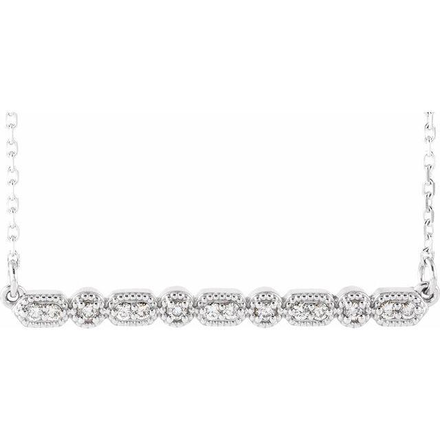 14K White 1/10 CTW Diamond Milgrain Bar 16-18