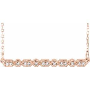 """14K Rose 1/10 CTW Diamond Milgrain Bar 16-18"""" Necklace"""
