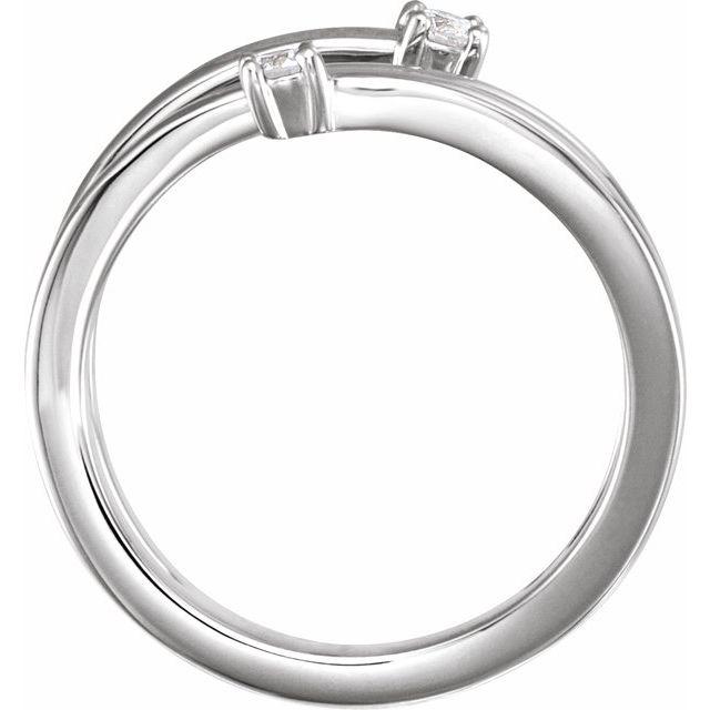 14K White 1/8 CTW Diamond Bypass Ring