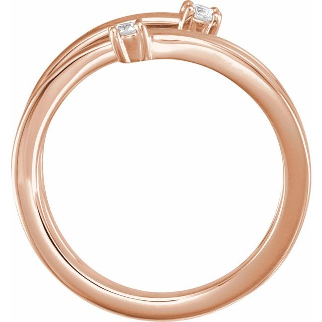 14K Rose 1/8 CTW Diamond Bypass Ring