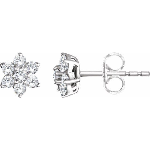14K White 3/8 CTW Diamond Flower Earrings
