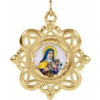 10K Yellow 26x26 mm Enameled St. Theresa Medal