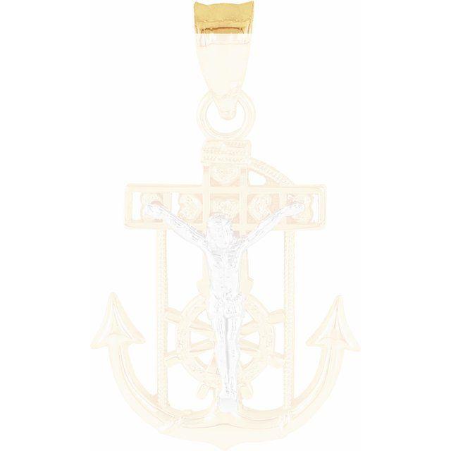 14K Yellow & White 17x14.5 mm Mariner-s Crucifix Pendant