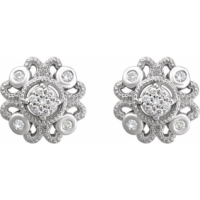 Sterling Silver 1/8 CTW Diamond Cluster Earrings