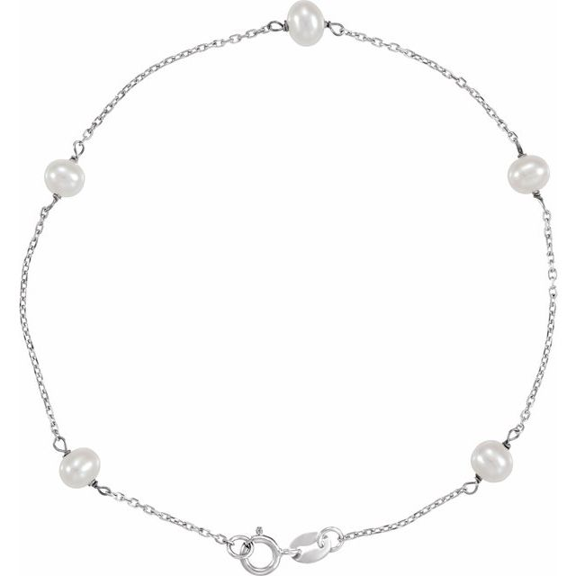 14K White Freshwater Cultured Pearl Station 7