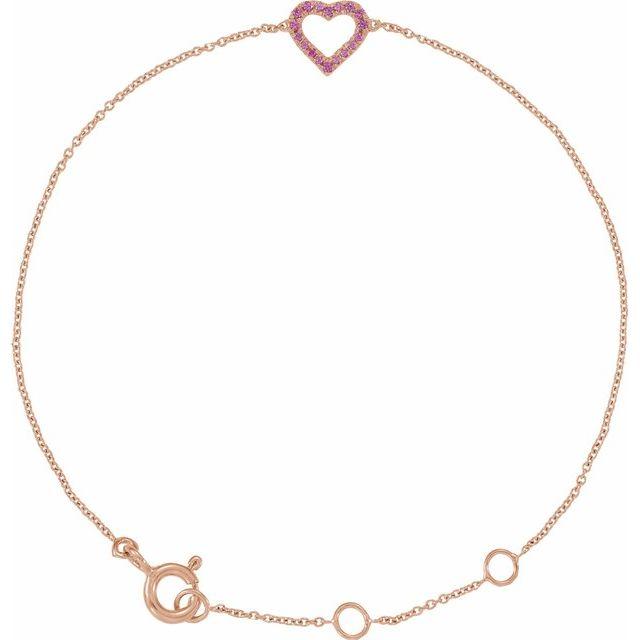 14K Rose Pink Sapphire Heart 5-7