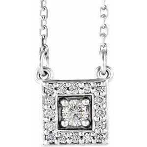 "14K White 1/8 CTW Diamond Halo-Style Square 16-18"" Necklace"