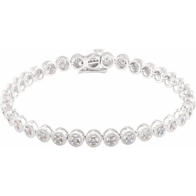 "14K White 1 CTW Diamond 7"" Bracelet"