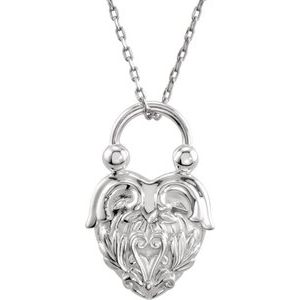 """Sterling Silver Vintage-Inspired Heart 18"""" Necklace"""