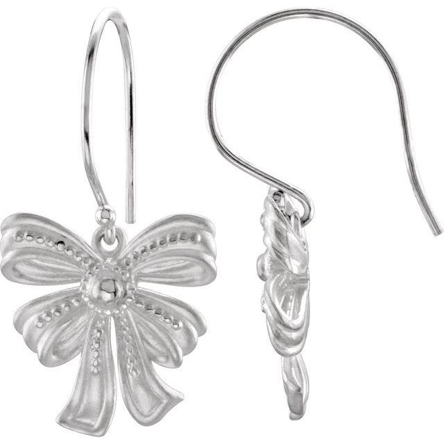 14K White Bow Dangle Earring Mounting