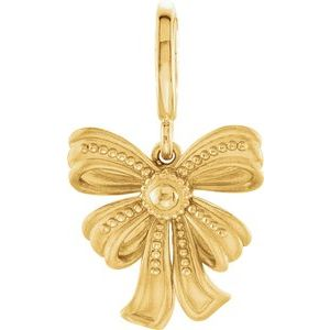 14K Yellow Vintage-Inspired Bow Charm