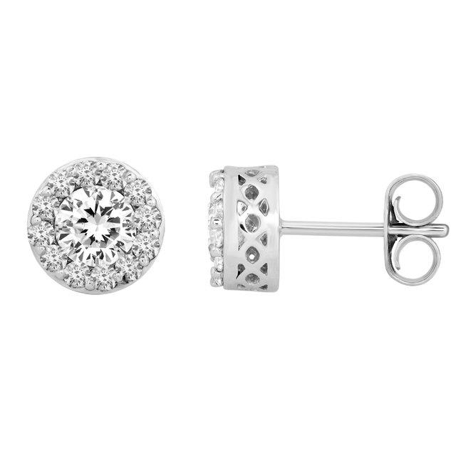 14K White 2 3/8 CTW Diamond Fantasy™ Cluster Earrings