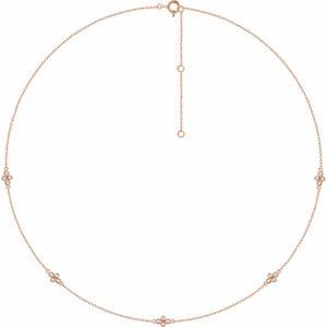"14K Rose 1/6 CTW Diamond 5-Station 18"" Necklace"