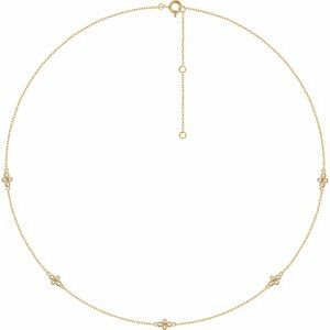 "14K Yellow 1/6 CTW Diamond 5-Station 18"" Necklace"