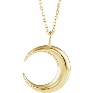 """14K Yellow Crescent Moon 16-18"""" Necklace"""