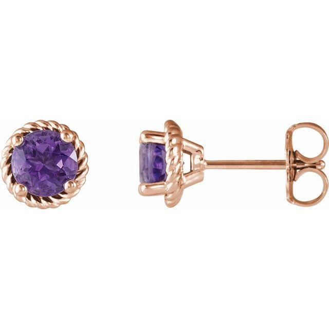 14K Rose Amethyst Rope Earrings