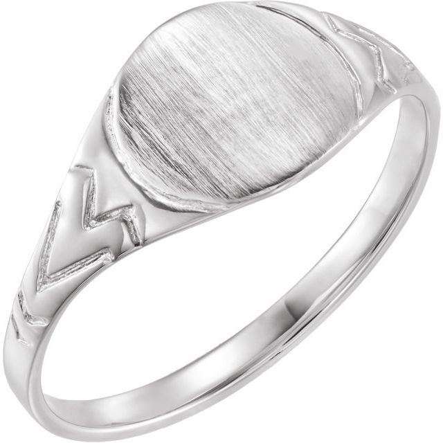 Sterling Silver 6 mm Round Youth Signet Ring