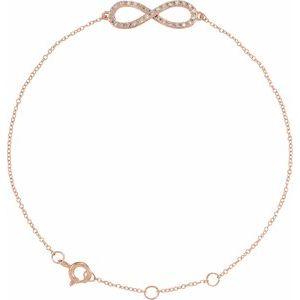 """14K Rose 1/6 CTW Diamond Infinity-Inspired 8"""" Bracelet"""